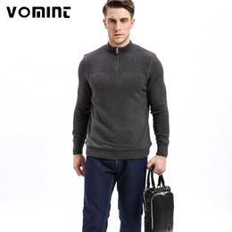 Argentina 20187 Vomint marca para hombre suéteres de la clase de algodón suéter de los hombres jersey de punto grueso con cuello medio cuello de color sólido Sweatershirt U6VI6B99 supplier zip neck sweater men Suministro