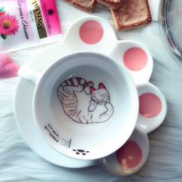 Wholesale Ceramic Coffee Mug Sets - 150ml Cute Cat Cartoon Mug Set Creative Catlike Milk Breakfast Cup Ceramic Cups And Plates Coffee Cup Heat -Resistant Cup Gift