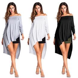 Wholesale Strapless Cotton Long Dresses Women - Women Off Shoulder Irregular Hem T-Shirt Long Sleeve Sexy Strapless Casual Tops Blouse Dress Clubwear 3 Colors OOA4189