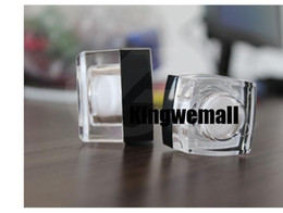 Wholesale Square Cream Cosmetic Jars - Free shipping 10g small square sample cream plastic bottle jar acrylic container black lid for cosmetic packaging 10ml 300pc lot