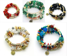 Wholesale vintage jade beads - Multilayer Irregular Agate Beads Charm Bracelets for Women Vintage Jade Stone Man Bracelets & Bangles Ethnic Jewelry 5 Styles H244Q