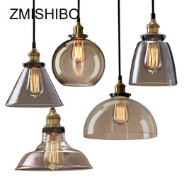 Wholesale vintage glass hanging lamps - ZMISHIBO Vintage Glass Pendant Lamp 110-240V E27 Ceiling Clear Amber Glass Lights Nordic Hanging Lamp kitchen Fixture Luminaire
