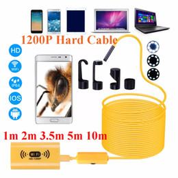 Freeshipping 1200P HD Regolabile 8 LED WiFi Endoscopio fotocamera 8.0mm IP68 Cavo rigido 1 M 2 M 3,5 M 5 M 10 M per iOS per Android per Windows da