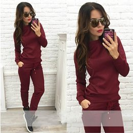 Wholesale Blazers Free Shipping - 2 Colors Casual Tracksuit Sweatshirt&pants Suit Hoodies Women Pullover Suits Set Long Top Woman Free Shipping Sets Clothing