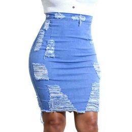 Calças jeans comprimento joelho on-line-Mulheres Saias Jeans Saias Plus Size Lápis de Cintura Alta Na Altura Do Joelho Buracos Rasgado Azul Claro S-XXL Nova Moda