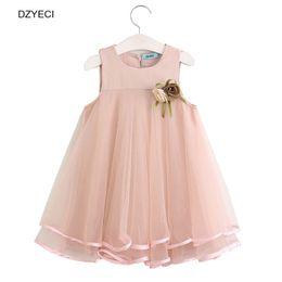 Wholesale Short Frocks - DZYECI Summer Baby Girl Dress Clothes 2017 Kid Sleeveless Vest Flower Lace Princess Party Frock Costume Children Deguisement 6 7