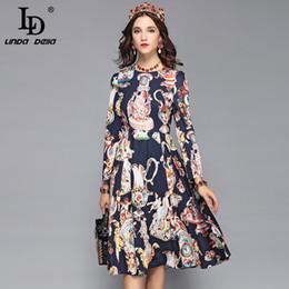 4d8e3abf818bad LD LINDA DELLA 2018 Designer Elegantes Herbstkleid A Line Damen Langarm  Angel Art Printed Slim Vintage Dress Vestido