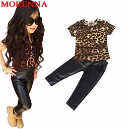 Wholesale Leather Shorts Pants - MORENNA Baby Girls Clothing New Kids Girl Clothes Suit Leopard Short-Sleeve T-Shirt Nice Leather Pants 2Pc Girls Clothing Sets