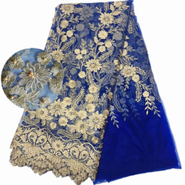 tela de encaje bordado con cuentas tela de encaje francés de lujo 5 yardas telas de encaje de tul africano azul desde fabricantes