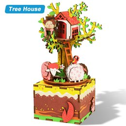 e housing Promo Codes - DIY Wooden DollHouse 3D Cartoons Puzzle Rotatable With Music Box Romantic Toys Gift For Children Tree House AM408 #E