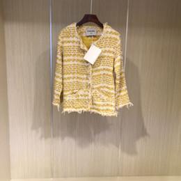 19ss marca de diseño de lujo caliente ropa de diseño de alta calidad Celebrity moda silueta de mujer elegante rebordear ajuste chaqueta corta de Tweed desde fabricantes