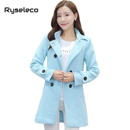 Wholesale Pure Wool Jacket - Wholesale-Ryseleco Girls Winter Fashion Sweet Double Breasted Regular Casual Wool Blends Coats Women Slim Brief Pure Color Warm Jackets