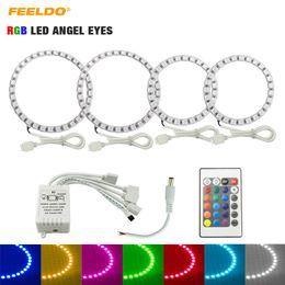 faro de hyundai Rebajas FEELDO Coche RGB Multicolor LED Angel Eyes Halo Kit de iluminación para Hyundai Tiburon / Sonata / I30 Headlight # 3245