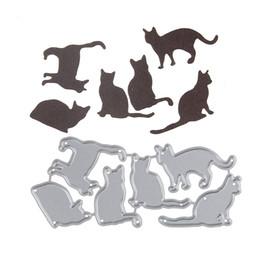 Wholesale album sets - 98*44.6mm Embossing Steel Many Cat Set Cutting Dies Stencils DIY Scrapbooking Card Album Photo Painting Template Metal Craft