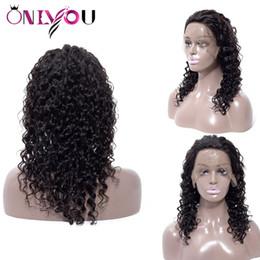 I capelli brasiliani trasportano velocemente online-Parrucche piene dei capelli umani del pizzo dell'onda profonda brasiliana diritta del corpo per le parrucche anteriori brasiliane del pizzo dei capelli del Virgin delle donne nere Cap Trasporto veloce