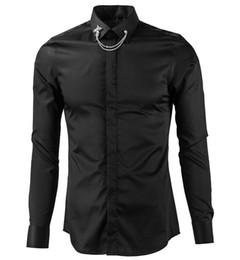Argentina Distintivo Silver Metal camisa casual hombre blanco camisa de algodón negro solapa Camisa Masculino camisa hombre Simple pecho Breasted cheap dan silver Suministro