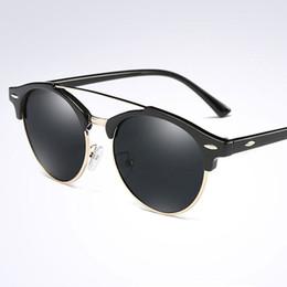 Pescado de metal vintage online-Gafas de sol polarizadas Hombres Mujeres Diseñador de la marca Classic Vintage Rivet Gafas de sol redondas Metal gafas polarizadas para conducir la pesca al aire libre