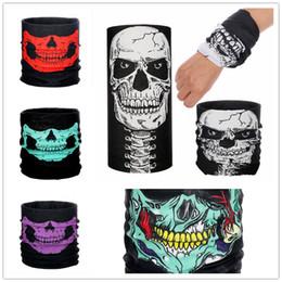 Muti-funzionale Skull Bandana Helmet Neck Maschere per il motociclo Sci Sport all'aria aperta Halloween Skeleton Sciarpa 8 colori da