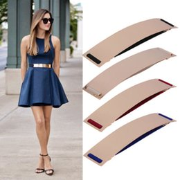 Wholesale Sexy Metal Clothing - 1PC New Fashion Sexy Women Elastic Mirror Metal Waist Belt Leather Metallic Bling Plate Wide Belt Party Clothing Accessory Hot