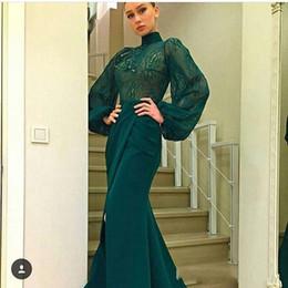 Hohes nacken-abendkleid online-2018 Dark Green Long Sleeve Brautkleider High Neck Lace Chiffon Mermaid Front Split Dubai Style Arabisch nach Maß Formale Abendkleider