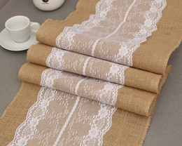 Wholesale lace table cloth wholesale - [RainLoong] Vintage Flax Table Cloth Flag Runner Lace For Wedding Event & Party Chirstmas Decoration 275*30cm