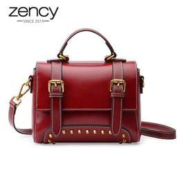 64f8e2375d Zency New Model Women Tote Bag 100% Genuine Leather Handbag Brown Fashion  Lady Messenger Purse Crossbody Flap With Rivets