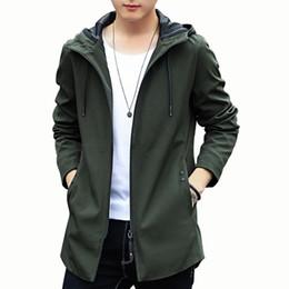 Vender chaqueta coreana online-Venta caliente de los hombres abrigos abrigos de los hombres chaqueta simple coreano casual con capucha larga ropa de los hombres de la marea