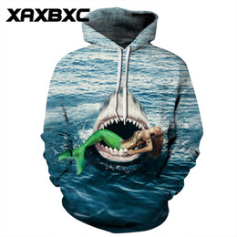 2018 New 280 Water Sea Jaws Shark Mermaid 3D Printed Women Jacket Hooded  Femme Sweatshirt Casual Loose Men Pocket Hoodies Coat 1c78ec15c