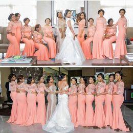 Ocasiones vestidos de damas de honor online-Africano nigeriano Tallas grandes Vestidos de dama de honor 2019 Coral medias mangas largas Top Lace Sweep Train Maid Of Honor Vestidos para ocasiones de noche BA3959