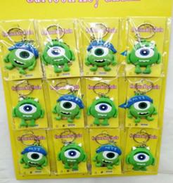 Зеленые брелки онлайн-New Cartoon Mix 12 pcs green eye keychains Anime Double sided PVC Figure Soft Rubber Keychain Keyrings F-3
