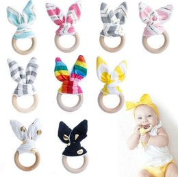 Wholesale Circle Ear Ring - Wooden Teether INS Baby Wood Circle With Rabbit Ear Fabric Newborn Teeth Practice Toys Training Ring KKA4088