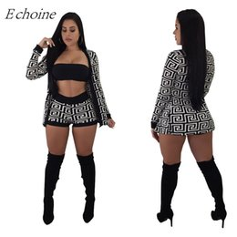 e392837a3cde Tracksuit Women Printed 3 Piece Set Crop Brap Top+Shorts+Long Sleeve  Cardigan Coat 2018 Autumn Outfits Female Sexy Club Suits