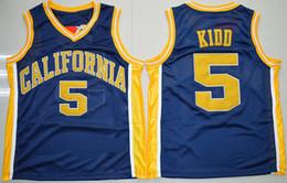 Wholesale California Shirts - Throwback California Golden Bears Jason Kidd College Basketball Jerseys Mens 5 Jason Kidd University Stitched Basketball Shirts