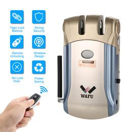 Portas remotas electrónicas on-line-Controle remoto sem fio Fechadura eletrônica Invisível Keyless Entry Door Lock com 4 controladores remotos Segurança em casa Instalação fácil