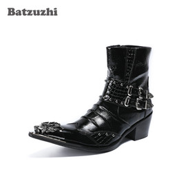 Wholesale Height Increasing Motorcycle Boots - Batzuzhzi 6.5cm Height Increased Men Boots Metal Pointed Toe Leather Botas Hombre with Buckles Punk Rock Motocycle Short Boots