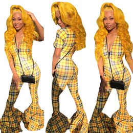 dd6a36c7da83 Women jumpsuits new flared pants Fashion sexy deep V tight-fitting printed  trumpet jumpsuit Plaid pants rompers Yellow xl 811