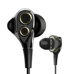 Wholesale professional ear headphones - Professional Hifi Deep Bass Earphone With Mic Dual Driver Noise -Isolating Headphones Headset Earbuds For Phone Pc Factory wholesale