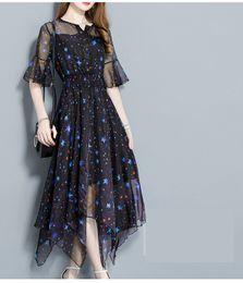 Wholesale irregular pattern - Women Printing Dress Summer New Print Chiffon Dress Irregular Summer Dress Fashion Summer Dresses For Women
