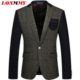 Chaqueta de lana prendas de vestir online-LONMMY 3XL Plaid chaqueta para hombre chaqueta Prendas de abrigo de lana traje de lana para hombre blazers de terciopelo vestido de boda rompevientos 2018 Nuevo