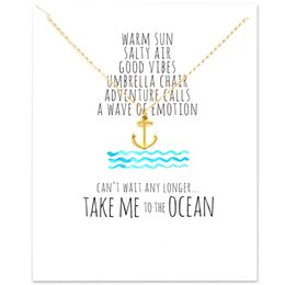 Wholesale anchor jewellery - Card Jewellery Ship's Anchor Gold and Silver Pendant Fashion Long Necklace Minecraft Pendant Statement Necklace Romantic Gift for Boy & Girl