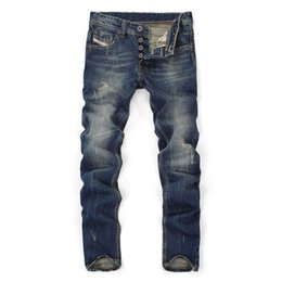 0ae45c19e21a3 2018 Famous Brand Fashion Designer Jeans Men Straight Dark Blue Color  Printed Mens Jeans Ripped Jeans