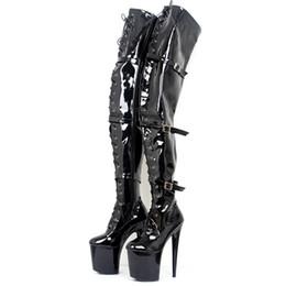 Stivali sopra il ginocchio neri con la coscia alta da ballo Sexy piattaforma 9 cm Tacchi alti Moda fibbia Lace Up Fetish 20Cm scarpe a punta per le donne Scarpe da