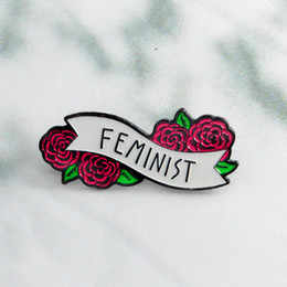 Красная роза цветочные феминистские булавки значки броши эмаль отворотом булавка рюкзак сумка аксессуары подарок для женщин девочек от Поставщики корейский стиль мужские костюмы