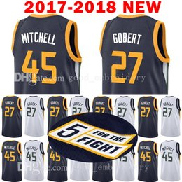 Wholesale M Jazz - 2017-18 New Men's Utah 45 DONOVAN MITCHELL 27 RUDY GOBERT Jersey Jazz 2018 MITCHELL GOBERT stitching Jerseys Adult Embroidery Logos