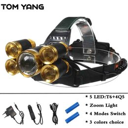 Wholesale Led Mining Headlight - Super Power 15000LM Rechargeable Headlamp Zoomable XML-T6+4Q5 LED Head Torch Waterproof 4 Modes Headlight Mining Lantern Lamps