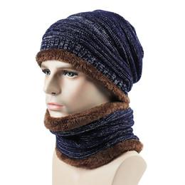 8aeeb800f34c Chapeau d hiver écharpe pour femmes hommes Bonnets décontractés tricoté écharpe  ensemble extérieur thermique chapeaux en peluche femmes anneau épais chaud  ...