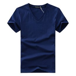 Wholesale Green Shirts For Men - Summer Mens V-neck T Shirt Newest Cotton Tee Solid Fashion T-Shirt Casual Short Sleeve Slim Fit TOP Shirt For Sales