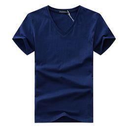 V neck shirts mens on-line-Verão Mens Com Decote Em V T Mais Recente Algodão Tee Sólida Moda T-Shirt Casual Manga Curta Slim Fit TOP Camisa Para vendas