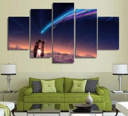 Wholesale Name Wall Art - 5 Panels Wall Art Your Name (Kimi no Na wa) Paintings Art Canvas Paintings Poster your name film poster painting no frame