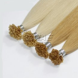 "Wholesale Glue Tip Hair Extensions - 0.8g strand 100s U Tip Prebonded Keratin Glue Hair 18"" 20"" 22"" 24"" Straight Nail Tip Human Hair Extensions Brazilian VMAE HAIR"